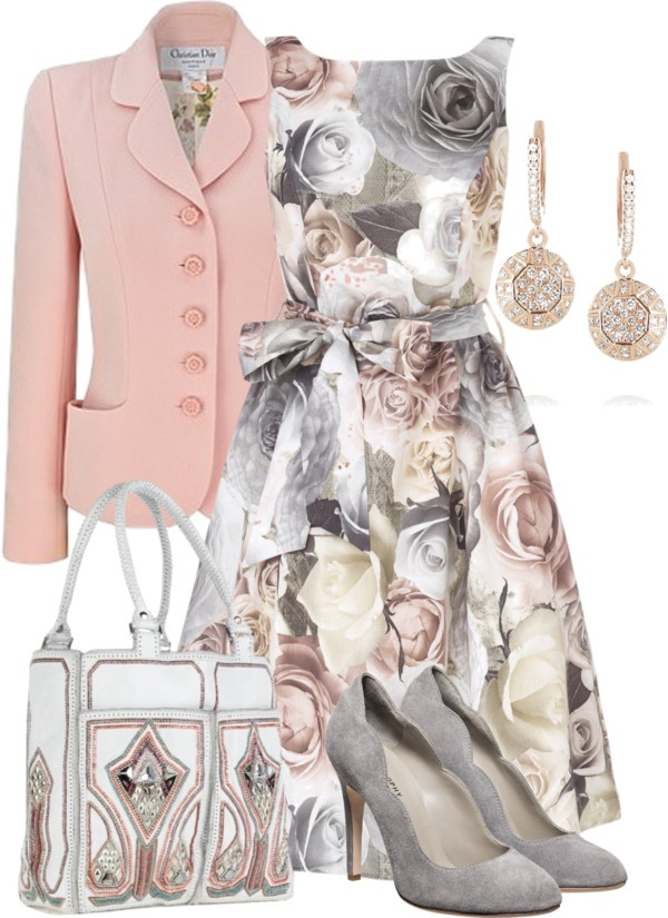 """Grey & Pink"" by yasminasdream on Polyvore"