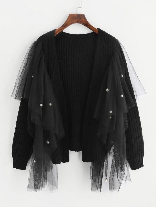 Black Embellished Sweater With Pearl Bedded Mesh