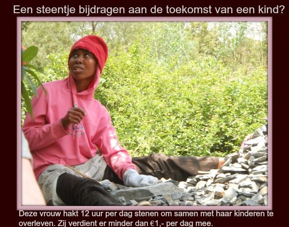 De beelden van deze vrouw zullen we nooit meer vergeten. Haar kind van 2 jaar scharrelde wat rond terwijl zijn moeder bezig was.  Je kunt je hier in Nederland moeilijk voorstellen dat een kind sponsoren voor €29, per maand en wat bemoedigende brieven een levensveranderend  verschil voor een kind kan zijn.