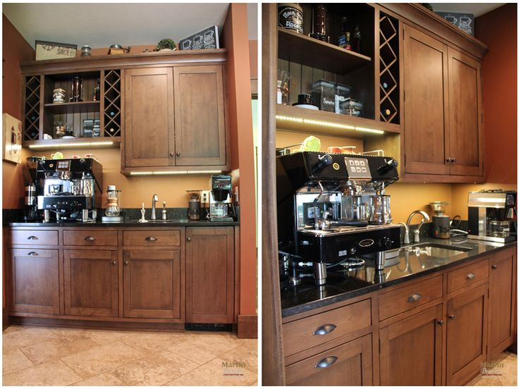 An owner of a coffee shop would not skimp on their coffee bar. Filtered water to the cappuccino bar and sink. Paneled front Sub-Zero icemaker. Pull-out waskebasket. Elkay stainless bar sink. Built-in wine racks. Undercabinet lighting. Home by Martin Bros. Contracting, Inc.