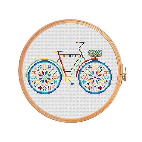 Summer bike with basket in bright colors  modern cross stitch