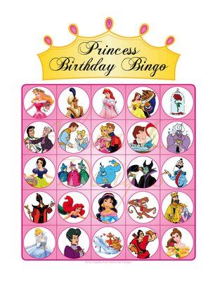 Free Disney Princess Bingo game with 10 unique game boards (free PDF printable)