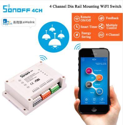 SONOFF 4CH. WI-FI Smart Switch. Smart переключатель Wi-Fi. 4-канальный (4-х полосный) беспроводной настенный переключатель. Din-рейка, дистанционный пульт, 10A/2200 Вт. Умный дом.