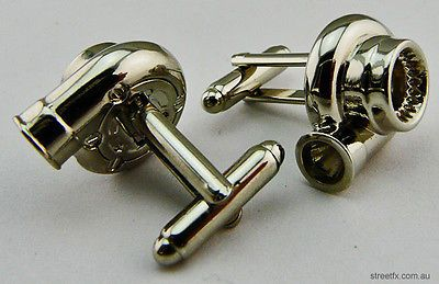 TURBO CUFFLINKS! Chrome Mini cuff links in the shape of a turbo. This would be super cute for a weddding idea, or have each groomsmen get cuff links with the emblem of his car (Honda, Subaru, Nissan, etc)
