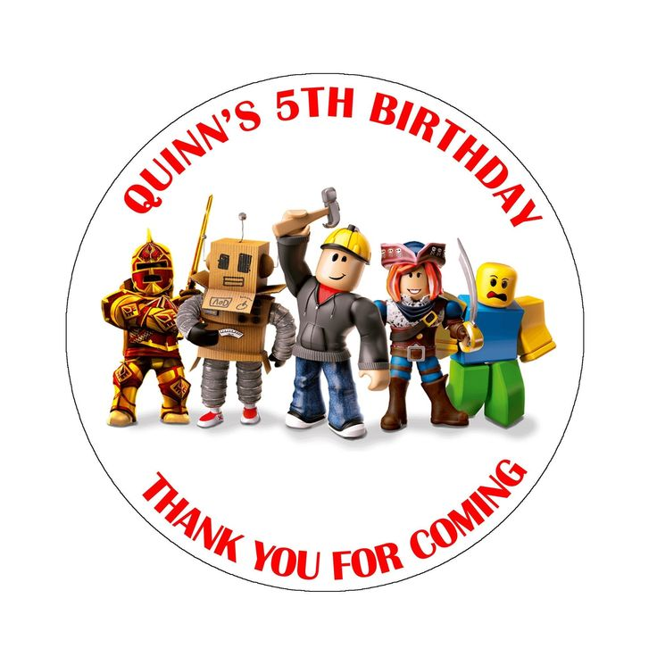 ROBLOX Personalised Birthday Stickers Thank You For Coming ... (736 x 736 Pixel)