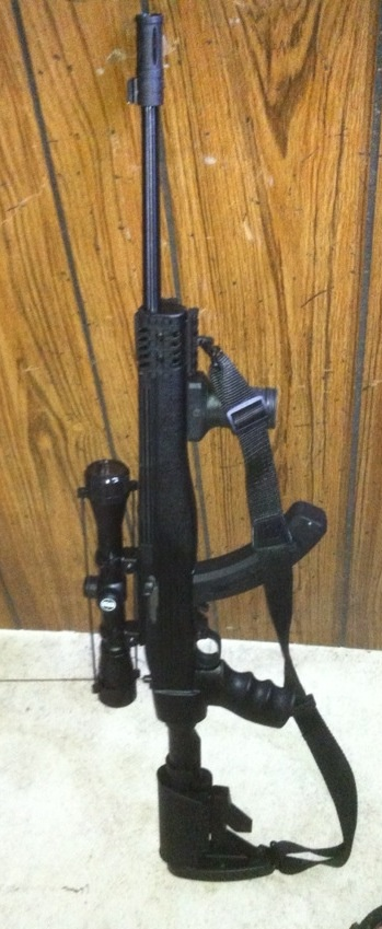 Ruger 10/22 tactical.  This is exactly the set up I have minus the flash suppressor.  I call this my squirrel assault rifle.
