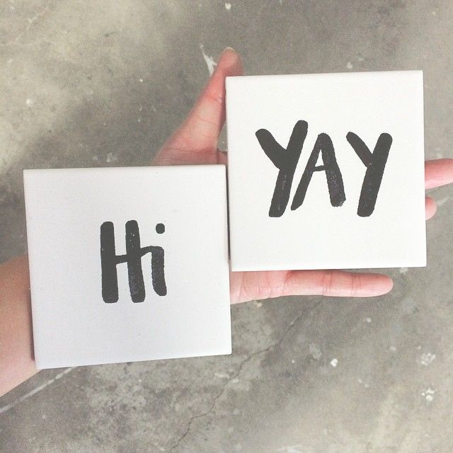 """""""Love our friendly little tiles!!! Etching ink! Amazing addition to what we can silkscreen on! It's time to think outside the box!  #becreative #screenprint #silkscreen #hi #yay #wedding #invite #events #tileprinting"""""""