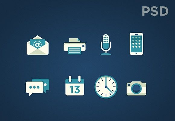 8 free PSD bi-color icons