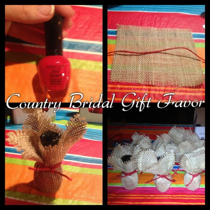 Country rustic bridal shower Gift Favor idea. Nail polish wrapped in burlap & twine