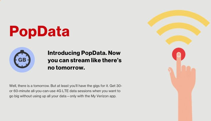 Test Apps - Verizon might let you have unlimited data up to one hour at a time - CNET Miss the joys of an unlimited data plan on Verizon Wireless? You can now buy a brief spin back into the binge lane. Verizon Wireless Verizon Wireless stopped offering an unlimited data plan way back in 2011 but its now letting some customers buy a taste of that data freedom. The carriers new PopData service which is currently launched in beta allows customers to purchase either 30 minutes for $2 or 1 ...