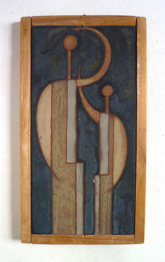 PANOS VALSAMAKIS Vintage Modernist Art Pottery TILE. Greek Framed Two Figures
