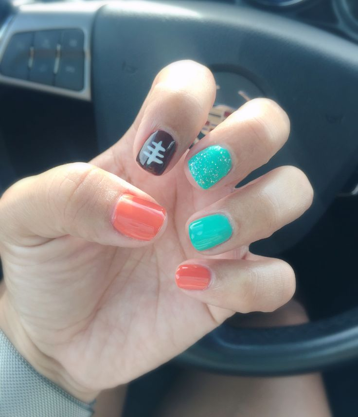My Miami Dolphins Inspired Nails! Ready for game day!  #SundayFunday #FootballSunday #MiamiDolphins