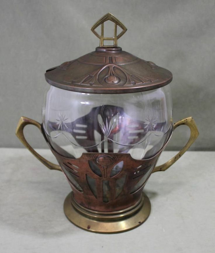 Antique German WMF Secessionist Arts & Crafts Copper Brass & Glass Punch Bowl NR