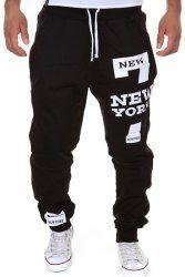 Letter Number Print Beam Feet Slimming Modish Lace-Up Polyester Sweatpants For Men (BLACK,M) | Sammydress.com Mobile