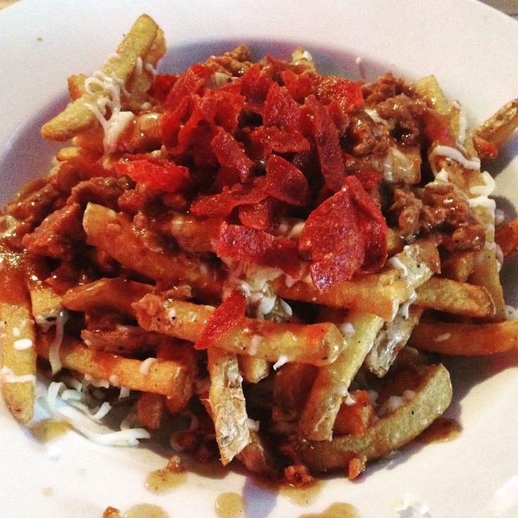 Braised sausage, pepperoni poutine