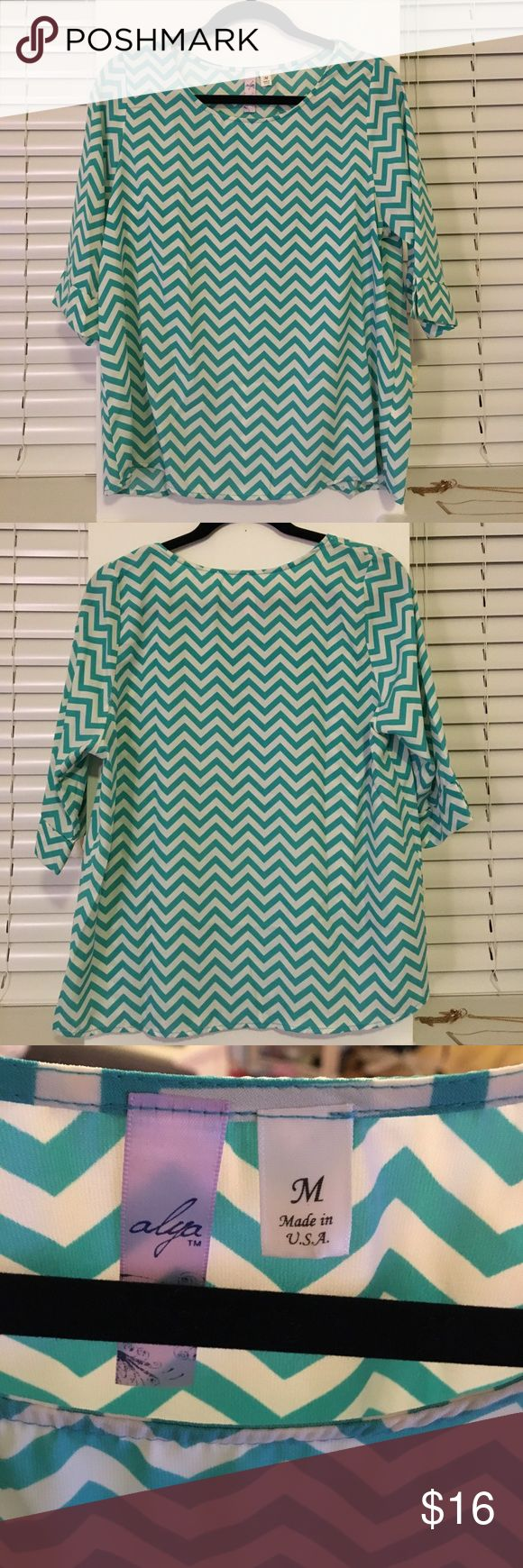 Teal & White Chevron Top 3/4 sleeve chevron patterned top, only worn a couple of times. A beautiful color to add to your closet for spring! No stains, holes, or tears. 100% polyester. Smoke-free home. Francesca's Collections Tops Blouses