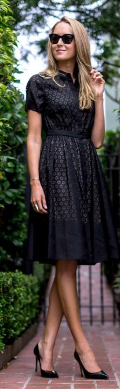Neels black lace tailored dress