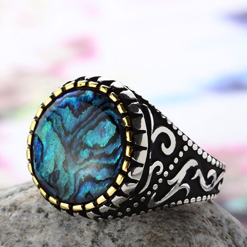 Silver Mens Ring Natural Abalone shell 925 Sterling Silver Ring 12.25 US size