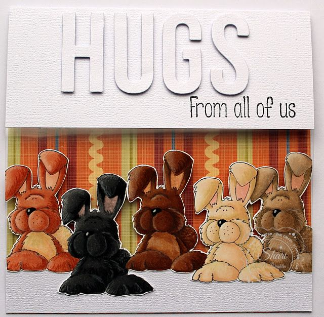 ONECRAZYSTAMPER.COM: Fluffle Hugs card by Shari using High Hopes Rubber Stamps