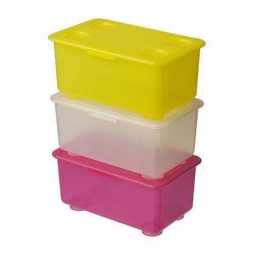 GLIS Scatola con coperchio - rosa/bianco/giallo - IKEA