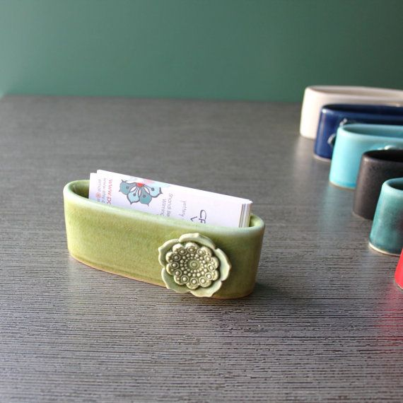 business card holder by potteryandtile on Etsy