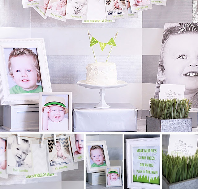 Love this timeless one year birthday party featuring monotones of gray, white and grass green. Great implementation!