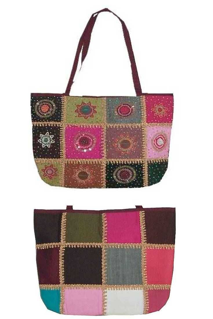Cute tote bag with trimmings, beads, sequins.