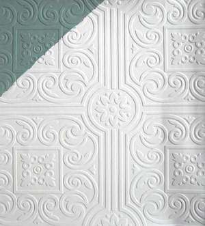 Embossed Paintable Victorian Ceiling Tile Wallpaper VP131600 | eBay - great over dropped ceiling