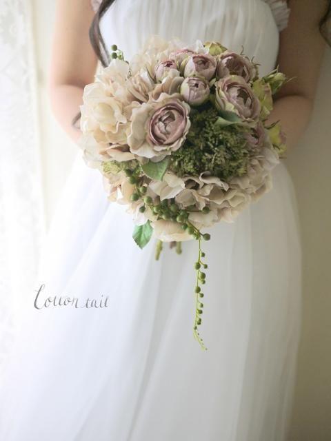 ベージュのバラと紫陽花のブーケ - Cotton tail