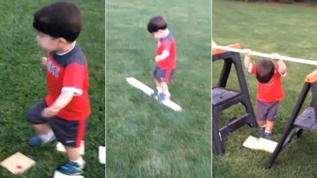 Cute kid nails homemade ninja warrior assault course