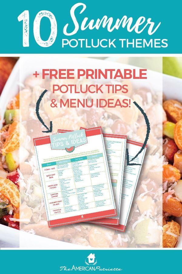 Summer Potluck Theme Ideas Free Potluck Printables Summer