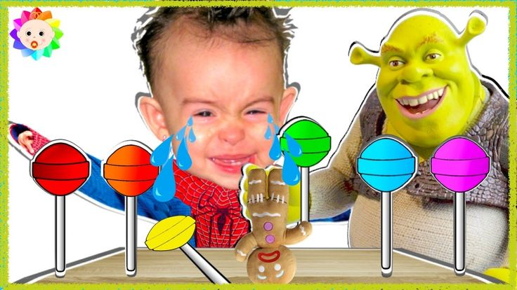 Spider Baby crying and learn colors Rainbow Lollipops Shrek vs Bad Ginge...