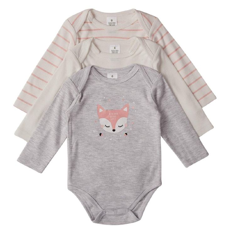 1x NB Hippo + Friends Baby Long Sleeve Print Front Bodysuits 3 Pack