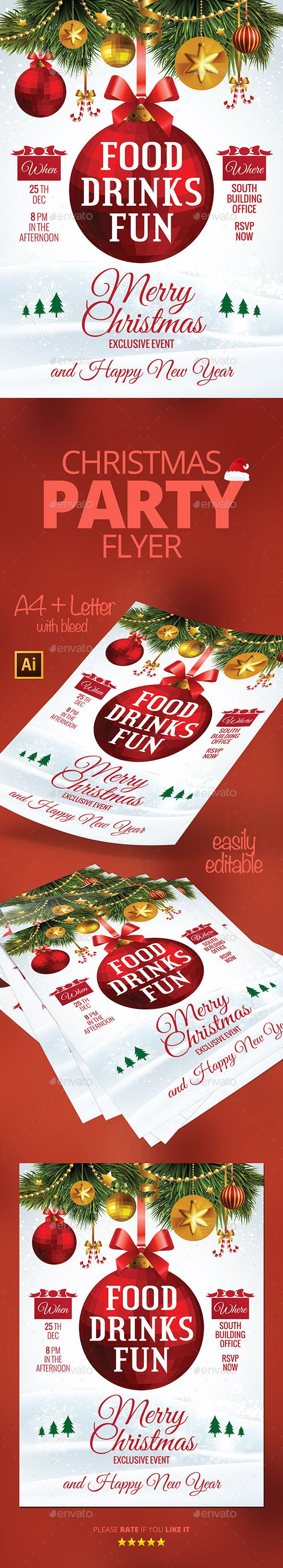 Christmas Party Invitation Flyer Template PSD #design #xmas Download: http://graphicriver.net/item/christmas-party-invitation/13383214?ref=ksioks