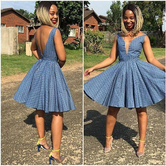 610399971 African Print Blue Vintage Flared Dress