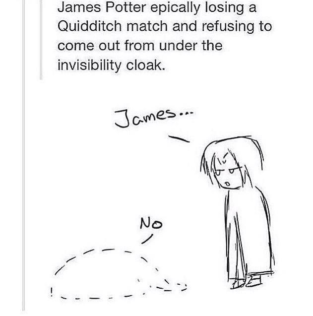 James Potter epically losing a Quidditch match and refusing to comee out from under the invisibility cloak.