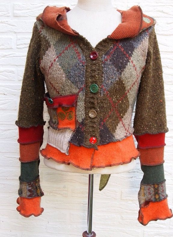 recycled sweater, love little pocket and multi colored buttons
