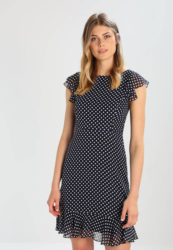 """Wallis. Summer dress - ink. Fit:tailored. Outer fabric material:100% polyester. Our model's height:Our model is 70.5 """" tall and is wearing size 8. Pattern:polka dot. Care instructions:do not tumble dry,machine wash at 30°C,Ma..."""