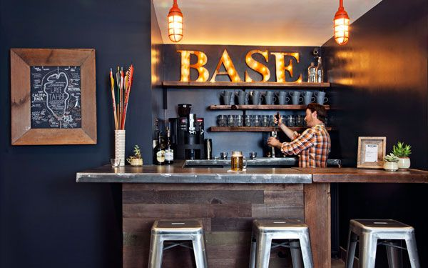 Bar in Basecamp South Lake Tahoe lodging- that sign is so gorgeous with the prettiest light