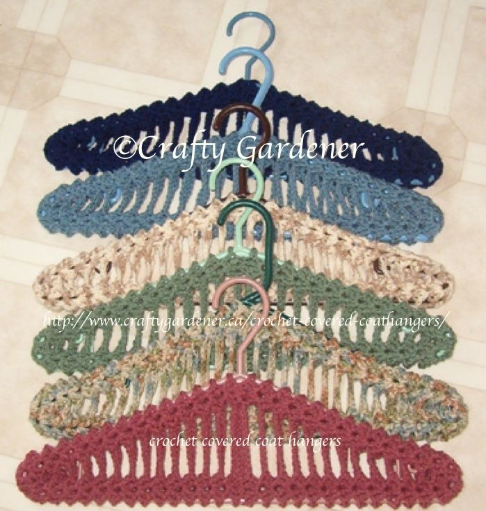 crochet covered coathangers ... free printable pattern from http://www.craftygardener.ca