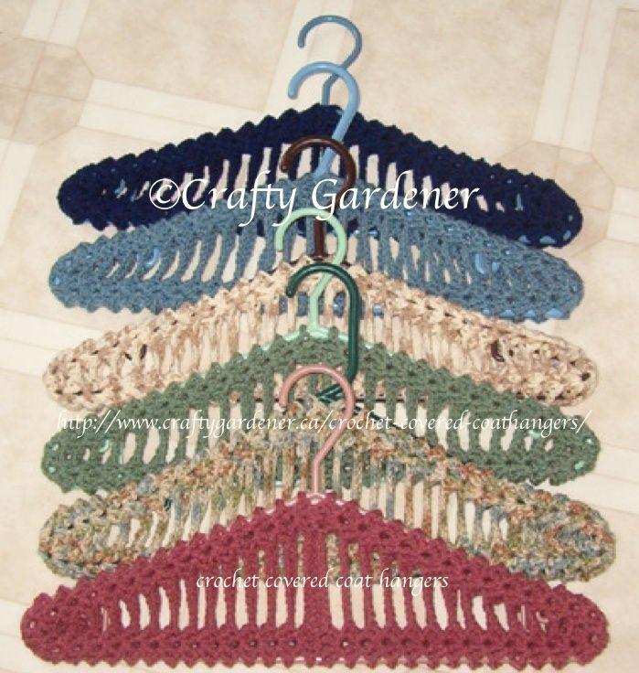 crochet covered coathangers .