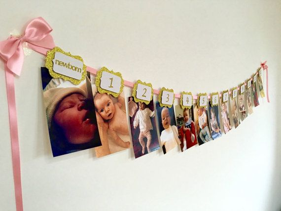 This pink and gold 12 months banner is ideal to show your little ones first year journey month by month. It will give the magical touch to your party. You can hang it up on a wall or just around the table. Each label has a 3D effect. All of them have a tiny clothe pin attached to the back to hang up your pictures (as shown on the listing images). They fit horizontal and vertical photos. This listing is for a 12 months photo banner ready to use with numbers in gold glitter. Please leave a…