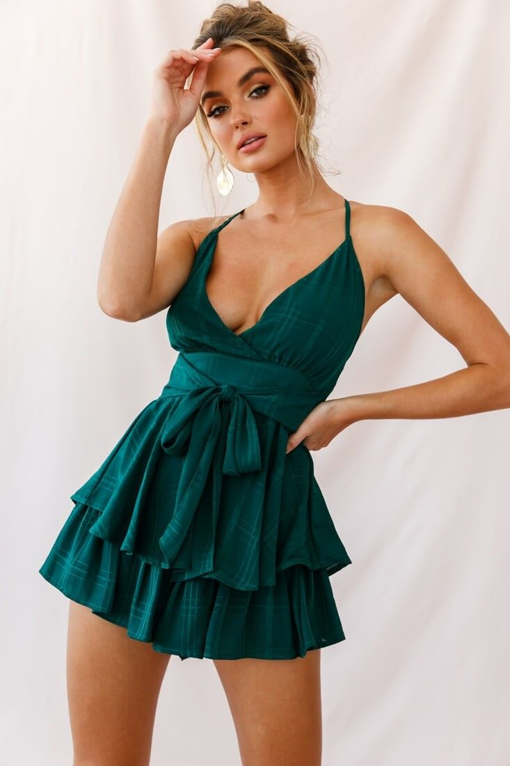 Maddox Fit Flare Summer Romper Forest Green In 2021 Casual Dresses For Women Mini Dress Long Sleeve Mini Dress [ 1100 x 733 Pixel ]