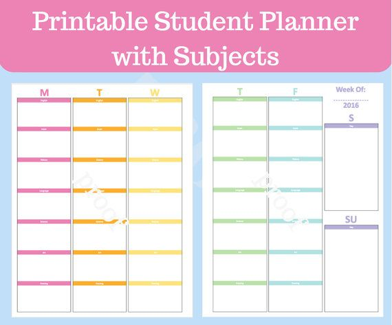 student planner printable with subjects  middle school