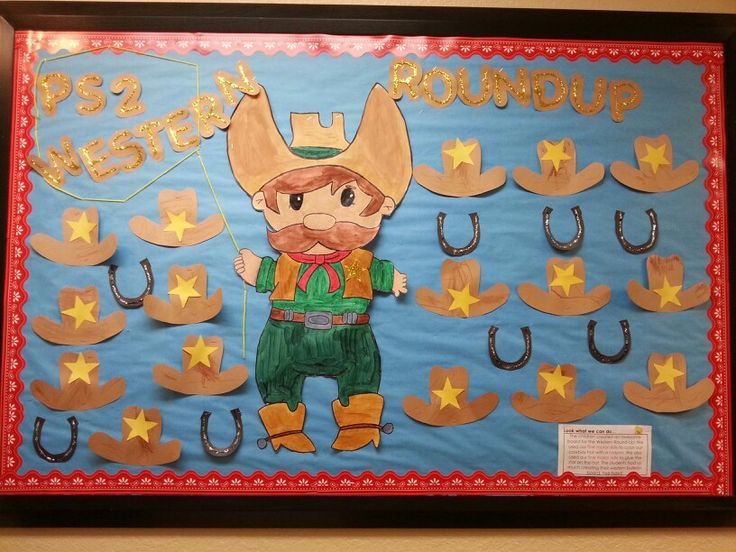 Western bulletin board created with my preschool students. #bulletin #bulletinboard #cowboy #sheriff #western