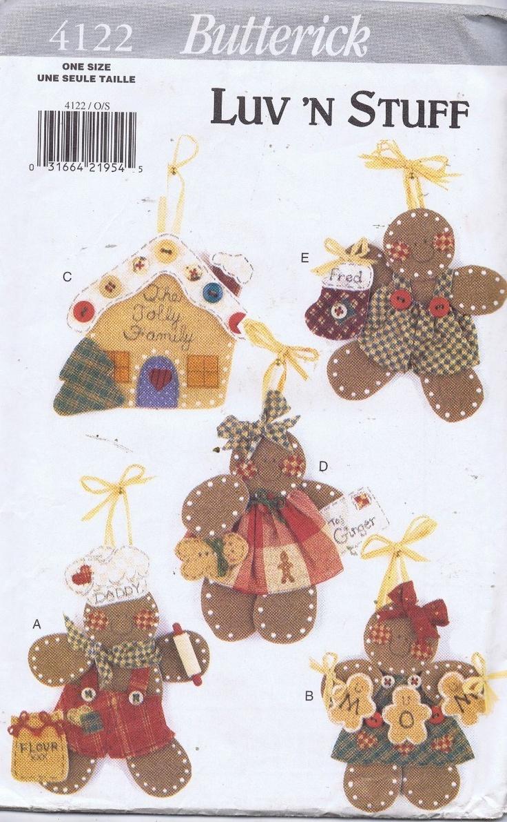 Love N Stuff Doll Ornaments Sewing Pattern 4122 Butterick Gingerbread Man  Girl  Ebay