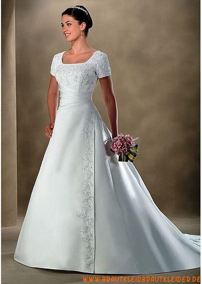 Elegantes Brautkleid aus Taft A-Linie mit kurz Ärmel ...