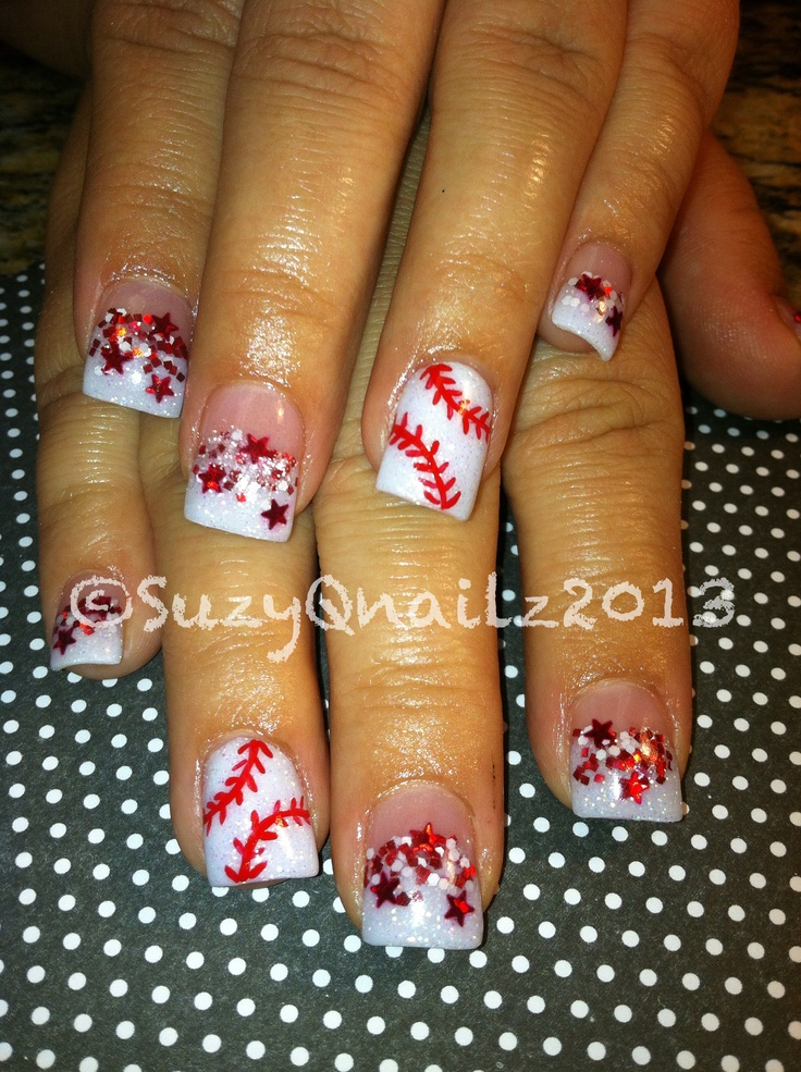 Baseball Nails...Kind of tacky but fake nails are tacky.