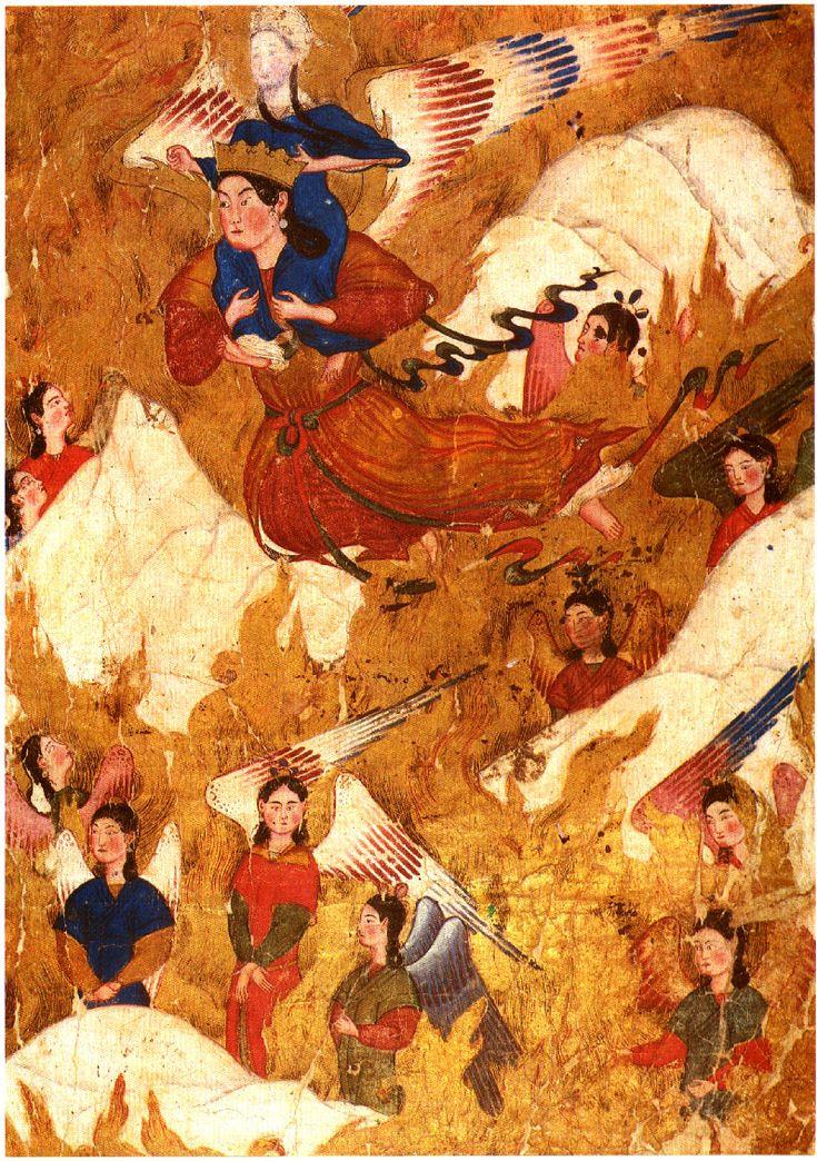 Gabriel carries Muhammad over the Mountains  Mi'raj-nama (Ascension of Muhammad').  From the Sarai Albums.  Tabriz, beginning of the 14th century.  Hazine 2154, folio 42b