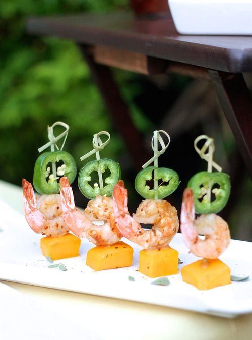Spicy Chardonnay shrimp with mango and Jalapeño !